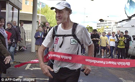 Ranulph finishing a marathon